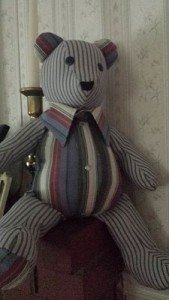Bear made from two shirts
