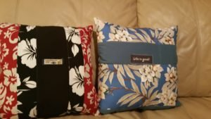 Pillows made from a husband's swimming trunks